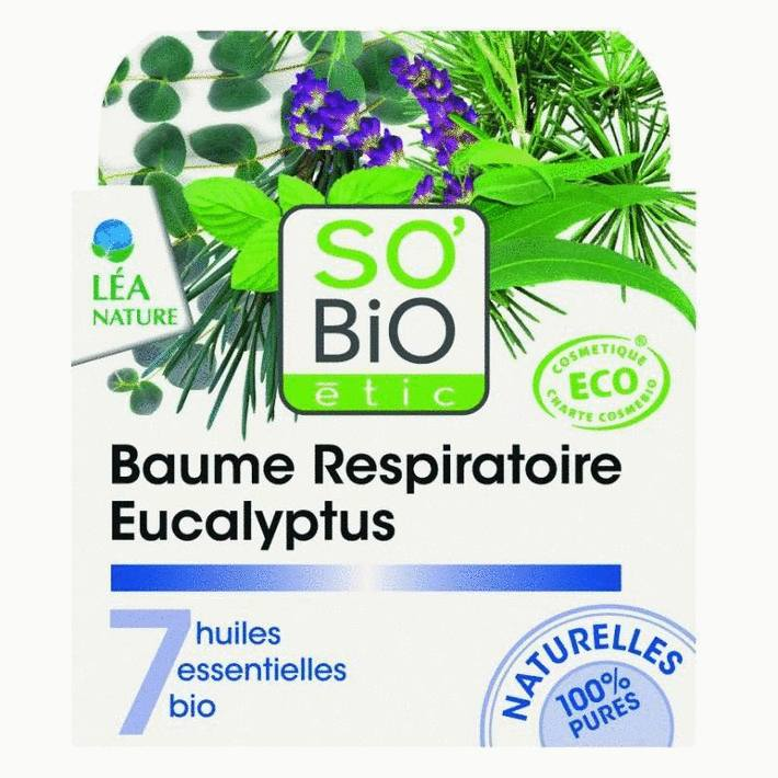 Baume respiratoire eucalyptus, aux 7 huiles essentielles bio