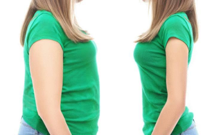 une femme en t.shirt vert avant après un regime minceur